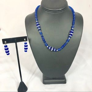 Jewelry - Blue and White Beaded Necklace and Earrings Set